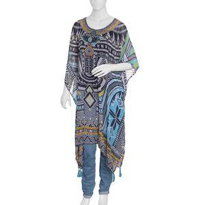 Ethnic Africa - Neon Blue 100% Polyester Digital Printed Kaftan (One Size)