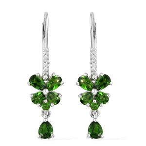 Russian Diopside, Cambodian Zircon Platinum Over Sterling Silver Lever Back Floral Drop Earrings TGW 2.54 cts.