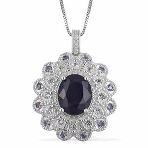 Masoala Sapphire, Multi Gemstone Sterling Silver Pendant With Chain (18 in) TGW 5.53 cts.