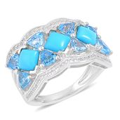 Arizona Sleeping Beauty Turquoise, Swiss Blue Topaz, White Zircon Sterling Silver Ring (Size 5.0) TGW 4.36 cts.