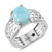 GP Larimar, Kanchanaburi Blue Sapphire Platinum Over Sterling Silver Ring (Size 9.0) TGW 5.28 cts.