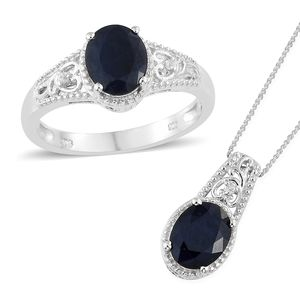 Madagascar Blue Sapphire, Cambodian Zircon Platinum Over Sterling Silver Ring (Size 6) and Pendant With Chain (20 in) TGW 4.61 cts.