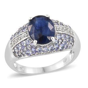 Masoala Sapphire, Multi Gemstone Platinum Over Sterling Silver Ring (Size 7.0) TGW 5.42 cts.