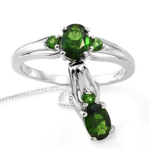 Russian Diopside Platinum Over Sterling Silver Ring (Size 7) and Pendant With Chain (20 in) TGW 1.84 cts.