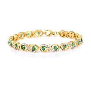 Brazilian Emerald, Cambodian Zircon Vermeil YG Over Sterling Silver Bracelet (7.50 In) TGW 3.88 cts.