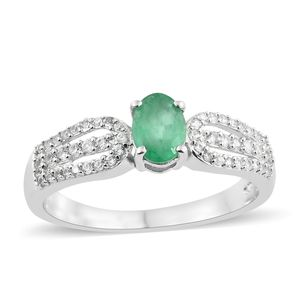 Brazilian Emerald, Cambodian Zircon Platinum Over Sterling Silver Ring (Size 5.0) TGW 1.20 cts.