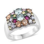 Simulated Aqua Diamond, Simulated Multi Color Diamond Stainless Steel Ring (Size 5.0) TGW 5.72 cts.