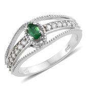 Brazilian Emerald, Cambodian Zircon Platinum Over Sterling Silver Split Ring (Size 6.0) TGW 0.70 cts.