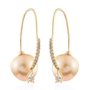 South Sea Pearl (12-13 mm), White Topaz Vermeil YG Over Sterling Silver Outer Ear Canal Cuff TGW 3.52 cts.
