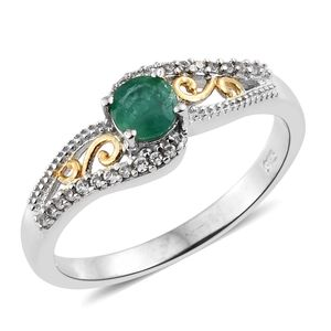 Brazilian Emerald, Cambodian Zircon 14K YG and Platinum Over Sterling Silver Openwork Ring (Size 5.0) TGW 0.65 cts.