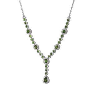 Russian Diopside, Cambodian Zircon Platinum Over Sterling Silver Y-Shape Necklace (18-20 in) TGW 3.03 cts.