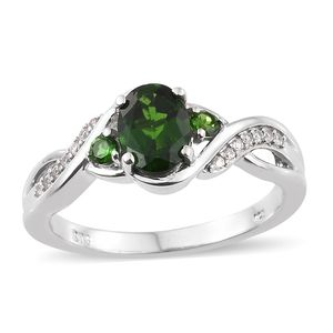 Russian Diopside, Cambodian Zircon Platinum Over Sterling Silver Ring (Size 5.0) TGW 1.60 cts.