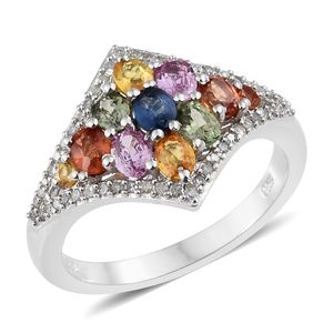 Multi Sapphire, Diamond Platinum Over Sterling Silver Cluster Ring (Size 5.0) TDiaWt 0.24 cts, TGW 2.26 cts.