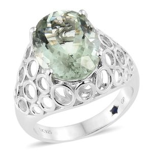 GP Green Amethyst Platinum Over Sterling Silver Ring (Size 7.0) TGW 8.68 cts.