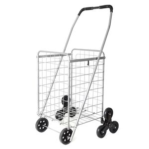 Silver Collapsible Iron Cart with Climbing Wheels and Comfort Grip Handle (37x14x13 in)