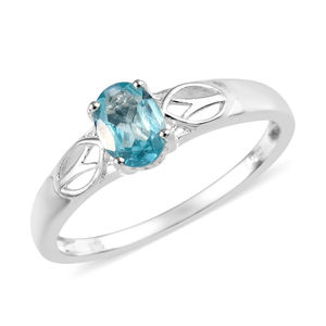 Madagascar Paraiba Apatite Sterling Silver Solitaire Ring (Size 5.0) TGW 0.85 cts.