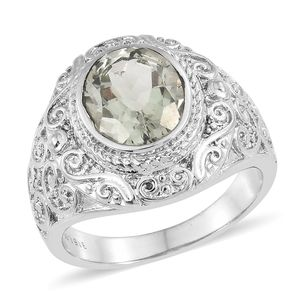 Green Amethyst Stainless Steel Ring (Size 6.0) TGW 3.50 cts.