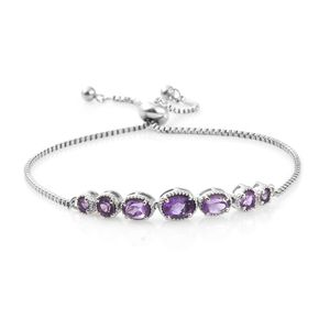 10 Minute Timeout Amethyst Platinum Bond Brass Bolo Bracelet (Adjustable) (9.50 In) TGW 2.24 cts.