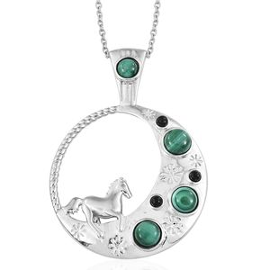 KARIS Collection - African Malachite, Black Onyx Platinum Bond Brass Pendant With Stainless Steel Chain (20 in) TGW 3.72 cts.