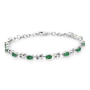 Brazilian Emerald Platinum Over Sterling Silver Money Sign Station Bracelet (7.50 In) TGW 2.60 cts.