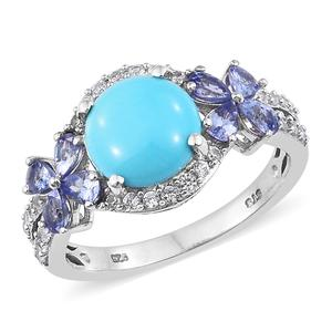 Arizona Sleeping Beauty Turquoise, Multi Gemstone Platinum Over Sterling Silver Butterfly Ring (Size 6.0) TGW 4.55 cts.