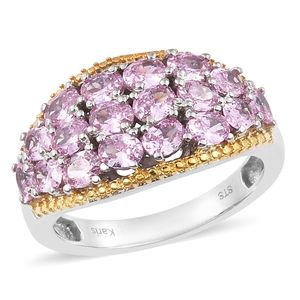 KARIS Collection - Simulated Pink Sapphire ION Plated 18K YG and Platinum Bond Brass Cluster Ring (Size 7.0) TGW 5.15 cts.
