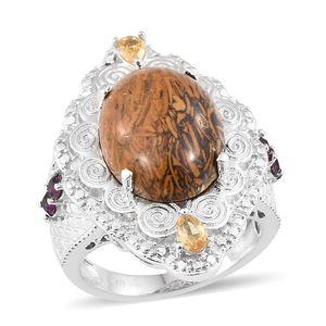 KARIS Collection - Indian Script Stone, Multi Gemstone Platinum Bond Brass Ring (Size 7.0) TGW 11.52 cts.