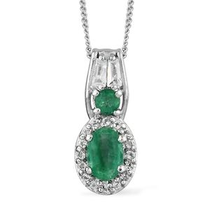 Brazilian Emerald, White Topaz Platinum Over Sterling Silver Pendant With Chain (20 in) TGW 0.85 cts.