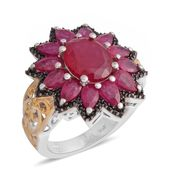 Niassa Ruby, Thai Black Spinel 14K YG and Platinum Over Sterling Silver Floral Ring (Size 6.5) TGW 8.50 cts.