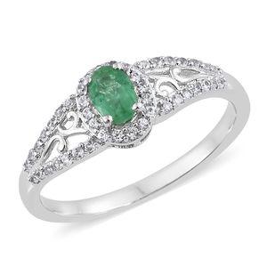 Brazilian Emerald, Cambodian Zircon Platinum Over Sterling Silver Openwork Ring (Size 8.0) TGW 0.83 cts.