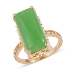 Burmese Green Jade, Multi Gemstone 14K YG Over Sterling Silver Dangle Ring (Size 10.0) TGW 11.15 cts.