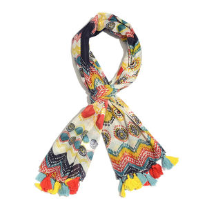 Aqua and Orange and Multi Color 100% Cotton Printed Pareo with Pom Pom (73x43 in)