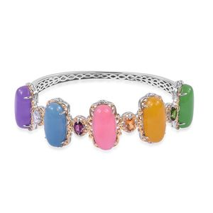 Burmese Multi Color Jade 14K YG Over and Sterling Silver Bangle (7.25 in) TGW 57.38 cts.
