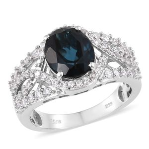 London Blue Topaz, Cambodian Zircon Platinum Over Sterling Silver Ring (Size 5.0) TGW 5.72 cts.