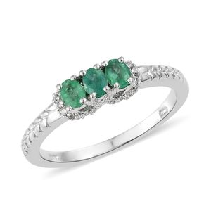 Brazilian Emerald, Cambodian Zircon Platinum Over Sterling Silver Trilogy Ring (Size 6.0) TGW 0.70 cts.