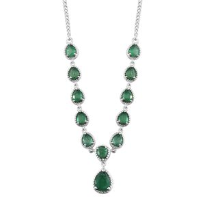 Brazilian Emerald Platinum Over Sterling Silver Necklace (18 in) TGW 3.90 cts.