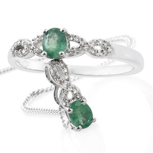 Brazilian Emerald, Cambodian Zircon Platinum Over Sterling Silver Ring (Size 6) and Pendant With Chain (20 in) TGW 0.90 cts.