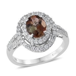 Dan's Collector Deal Jenipapo Andalusite, Cambodian Zircon Platinum Over Sterling Silver Ring (Size 5.0) TGW 2.96 cts.