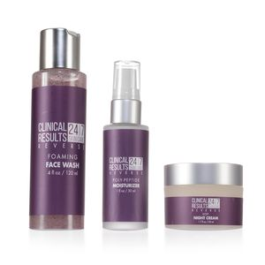 Clinical Results 24.7 Reverse 3-Piece: Night Cream (1.7 fl oz), Poly-Pedtie Moisturizer (1 fl oz), and Face Wash (4 fl oz)