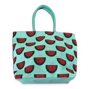 Budget Pay Bonanza Turquoise 100% Natural Jute Watermelon Printed Tote with Polyester Interior (18.5x5x13 in)