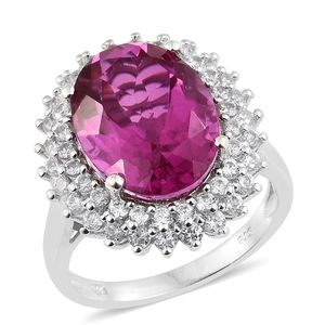 Radiant Orchid Quartz, Cambodian Zircon Platinum Over Sterling Silver Ring (Size 7.0) TGW 11.73 cts.