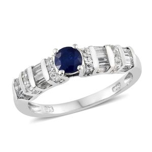 Blue Spinel, White Topaz Platinum Over Sterling Silver Ring (Size 7.0) TGW 1.50 cts.