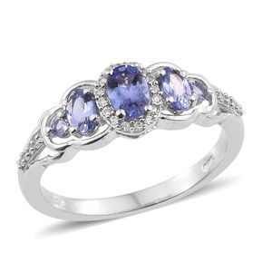 Tanzanite, Cambodian Zircon Platinum Over Sterling Silver Ring (Size 7.0) TGW 1.14 cts.