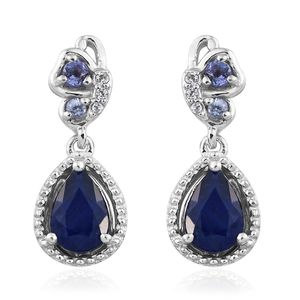 Blue Spinel, Multi Gemstone Platinum Over Sterling Silver Earrings TGW 2.10 cts.