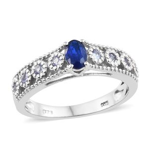 Blue Spinel, Tanzanite Platinum Over Sterling Silver Bridge Ring (Size 7.0) TGW 0.85 cts.