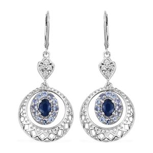 Blue Spinel, Multi Gemstone Platinum Over Sterling Silver Earrings TGW 2.52 cts.