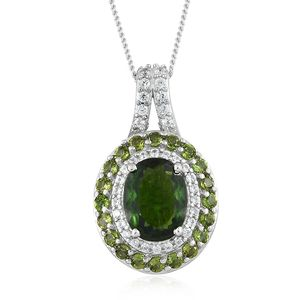 Russian Diopside, Multi Gemstone Platinum Over Sterling Silver Pendant With Chain (20 in) TGW 2.50 cts.