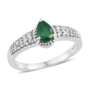 Brazilian Emerald, Cambodian Zircon Platinum Over Sterling Silver Ring (Size 7.0) TGW 1.01 cts.
