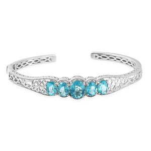 Paraiba Topaz Platinum Over Sterling Silver Cuff (7.25 in) TGW 9.22 cts.