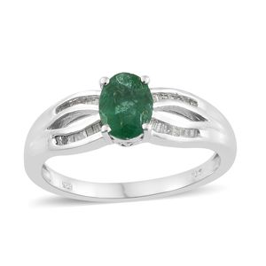 Brazilian Emerald, Diamond Platinum Over Sterling Silver Ring (Size 10.0) TDiaWt 0.18 cts, TGW 1.18 cts.